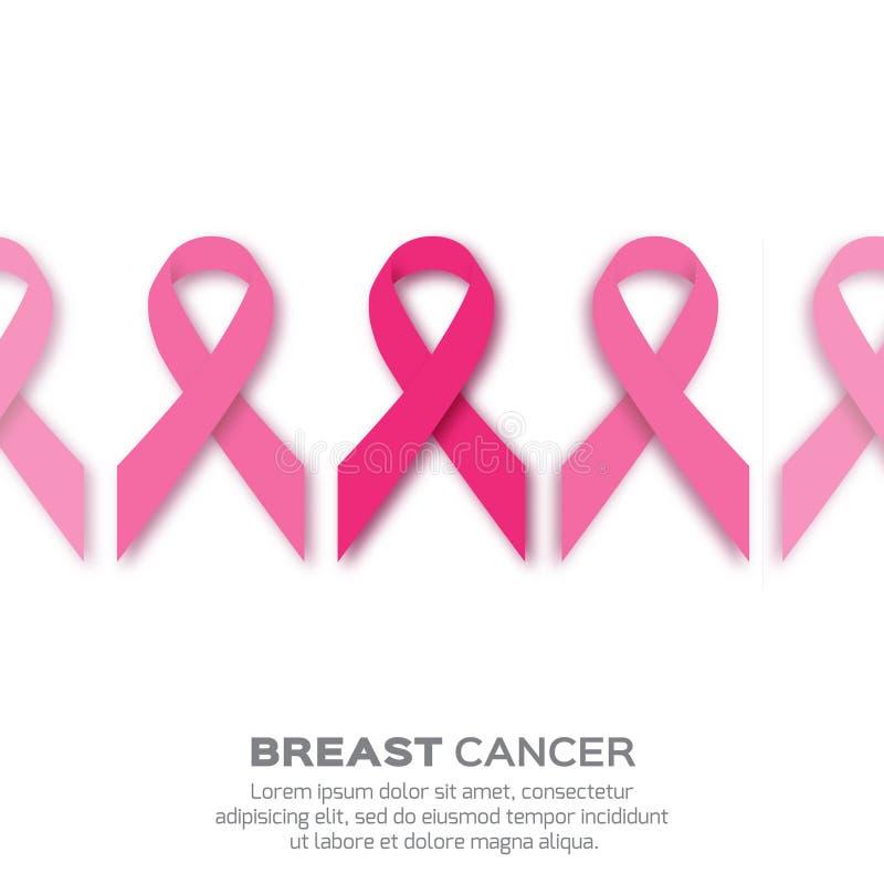 Le ruban rose d'origami, papier a coupé le symbole de conscience de cancer du sein illustration stock
