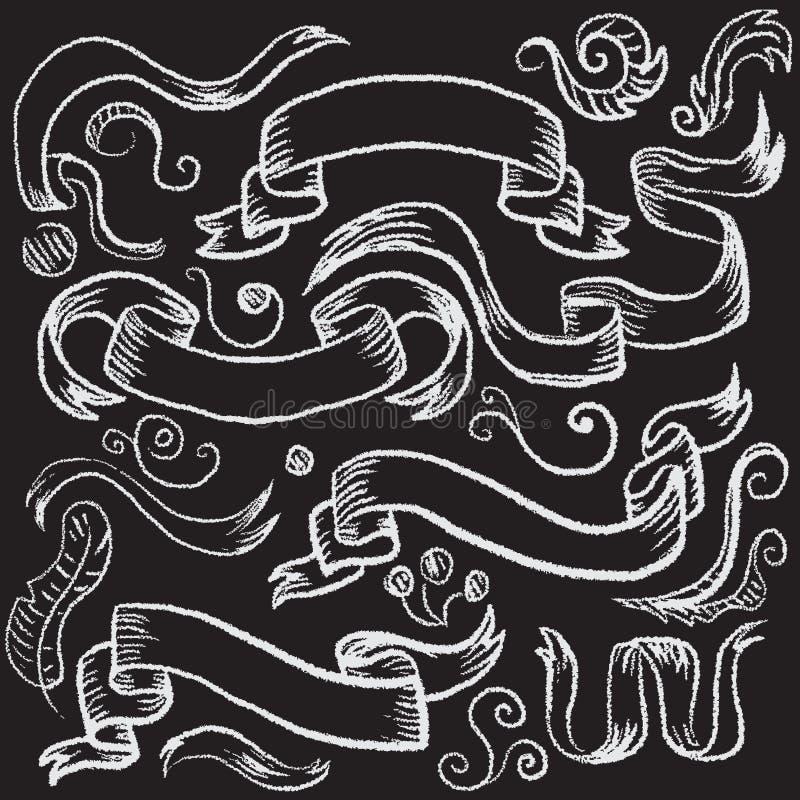 Le ruban a stylisé le dessin avec la craie sur un tableau noir illustration libre de droits
