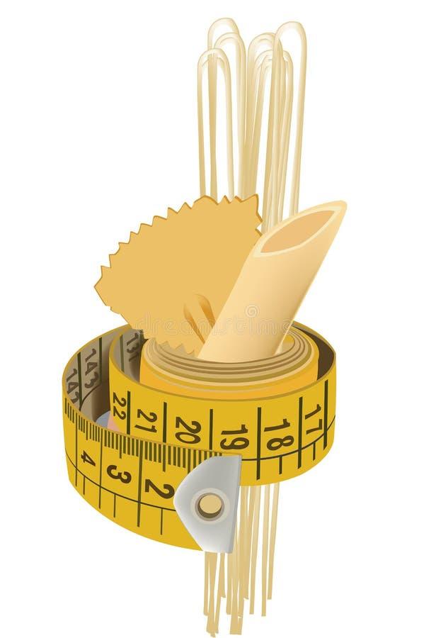 Le ruban vestimentaire enveloppe les pâtes de blé illustration stock