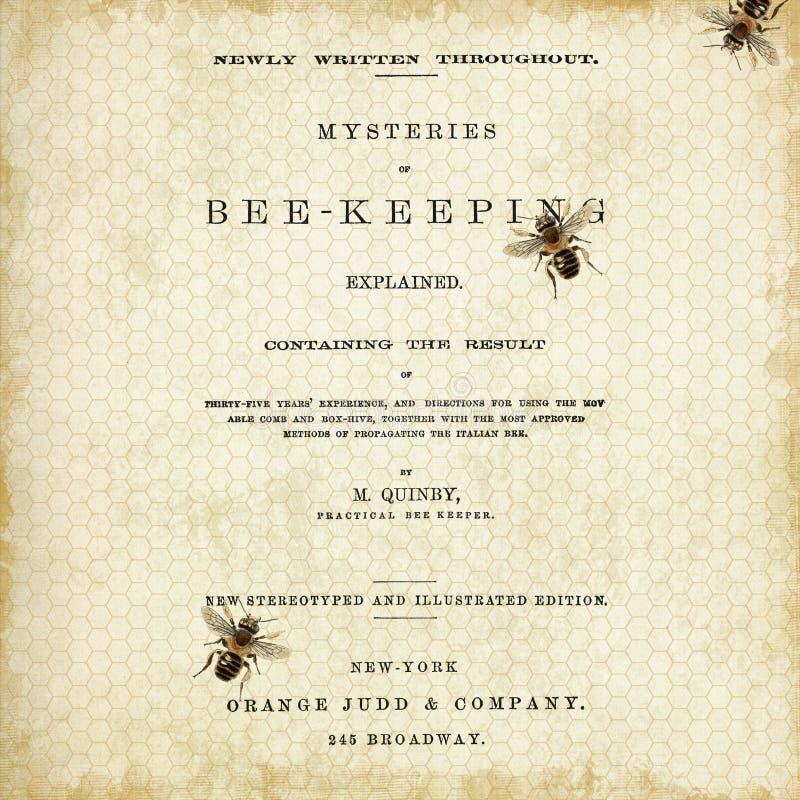 Le rucher de cru a model? le papier - abeilles de cru - reine des abeilles - bourdon - style de ferme - noir - blanc illustration libre de droits