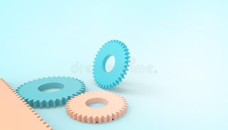 Le ruote di ingranaggio techne astratte del motore giocano, carta industriale di concetto su fondo blu pastello per lo spazio del illustrazione di stock