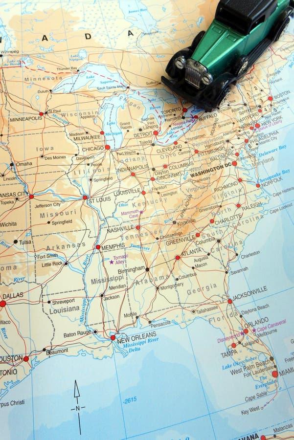 Viaggio stradale con il concetto dell'America settentrionale immagini stock libere da diritti