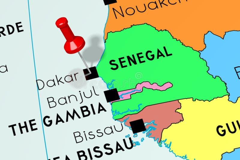 Le Sénégal, Dakar - capitale, goupillée sur la carte politique illustration libre de droits