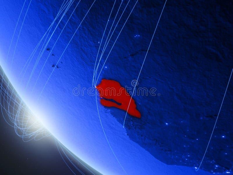 Le Sénégal de l'espace avec le réseau illustration de vecteur