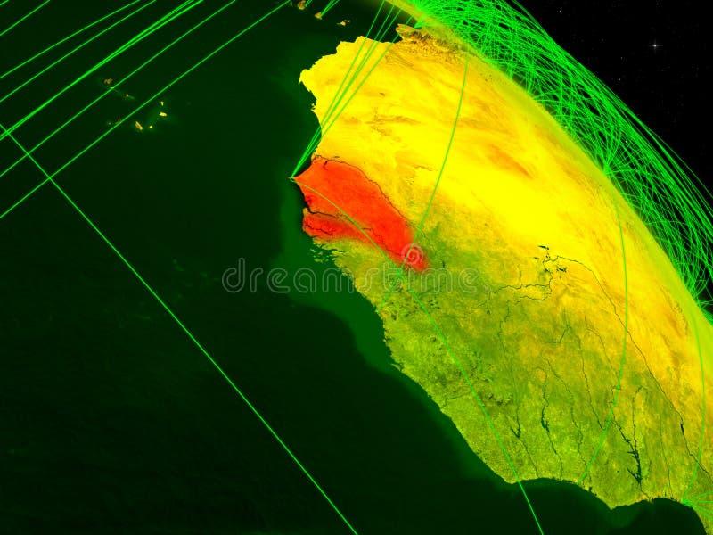 Le Sénégal sur le globe numérique illustration de vecteur