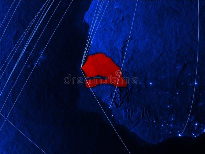 Le Sénégal sur la carte numérique bleue avec des réseaux Concept de voyage international, de communication et de technologie illu illustration stock