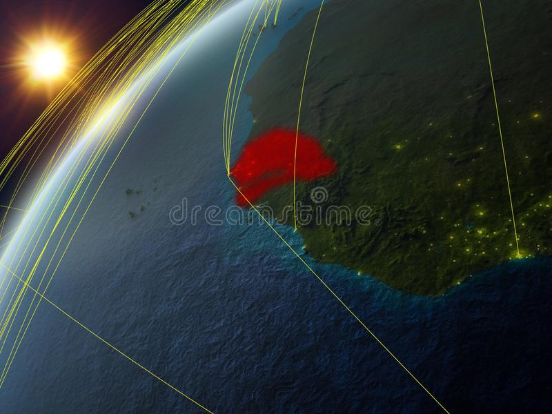 Le Sénégal sur terre avec le réseau illustration libre de droits