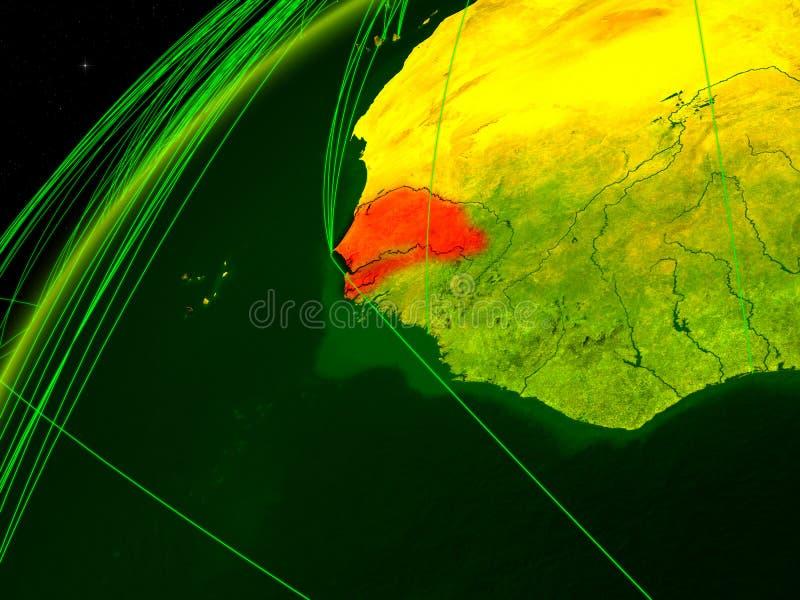 Le Sénégal sur terre avec le réseau illustration stock