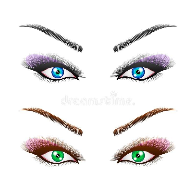 Le ` s de femme observe avec les sourcils parfaitement formés et les pleines mèches avec le maquillage intense illustration stock