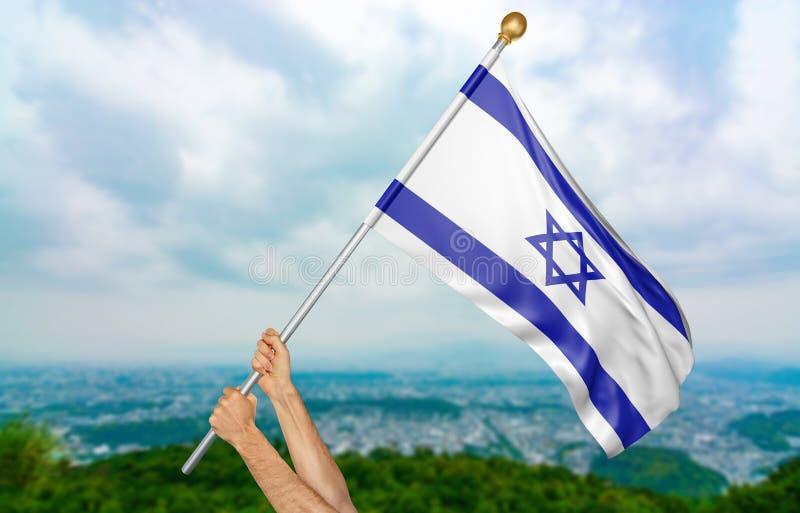 Le ` s de jeune homme remet onduler fièrement l'Israël drapeau national dans le ciel, rendu de la partie 3D photographie stock