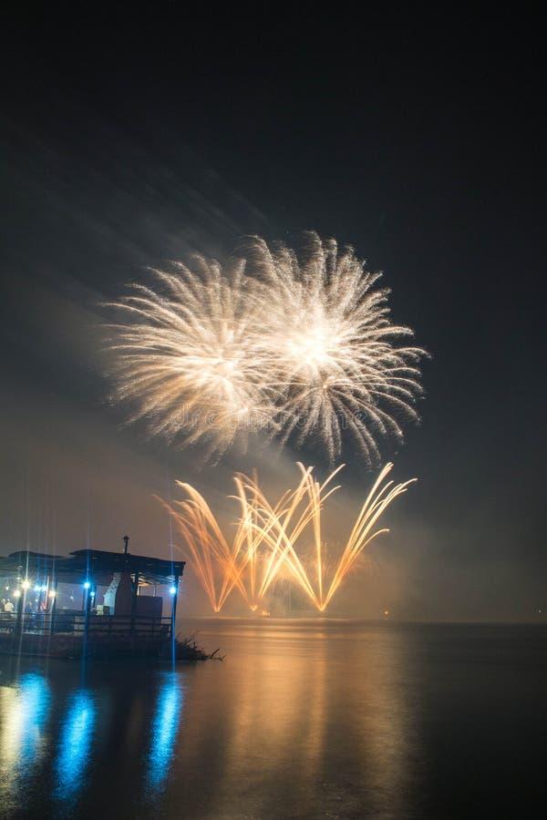 Le ` s Eve Fireworks de nouvelle année a lancé de l'eau avec des réflexions photos libres de droits