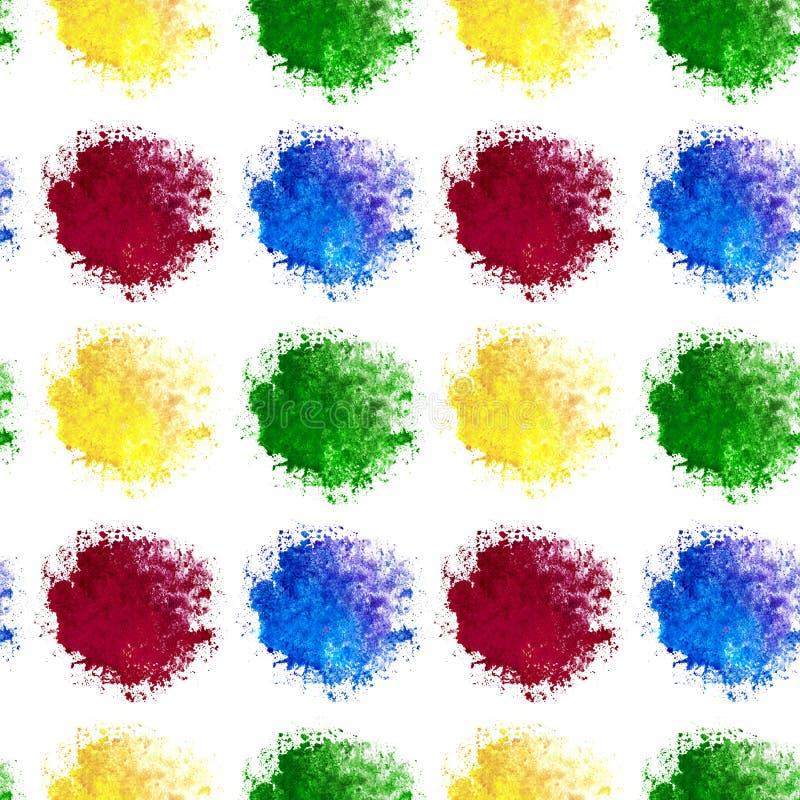 Le sabot sans couture de la tache d'arc-en-ciel d'aquarelle ?clabousse de couleur bleue et verte jaune rouge d'isolement sur le f illustration libre de droits