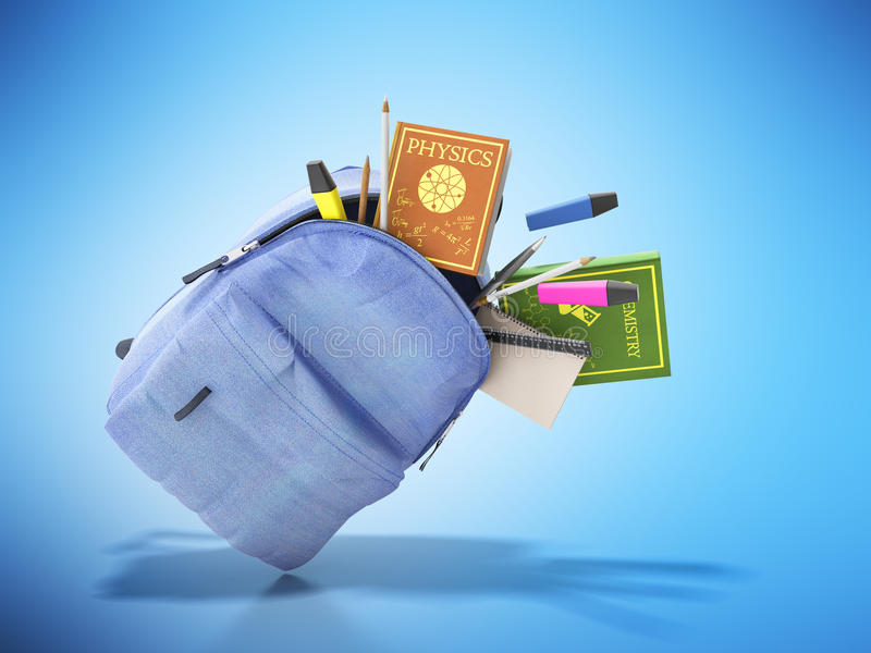 Le sac à dos bleu avec les fournitures scolaires 3d rendent sur le bleu illustration libre de droits