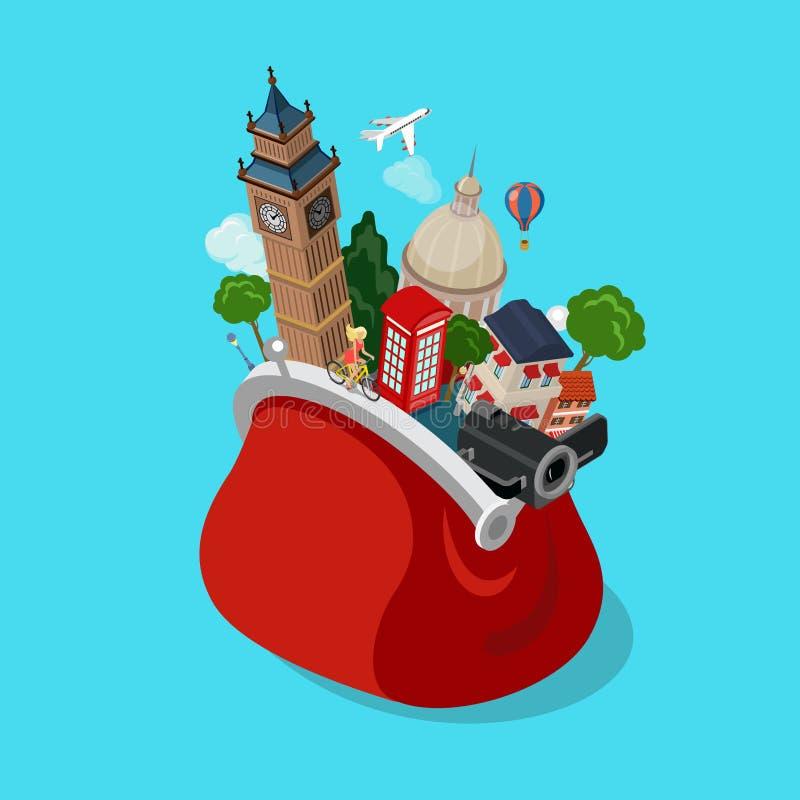 Le sac aperçoit le vecteur isométrique plat 3d de showplace de tourisme de points de repère illustration libre de droits