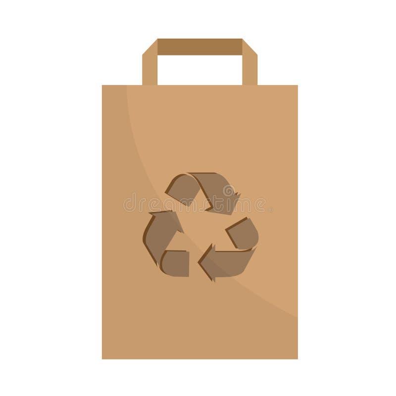 Le sac de empaquetage de papier avec réutilisent le signe Sauvez l'?cologie de la terre illustration stock