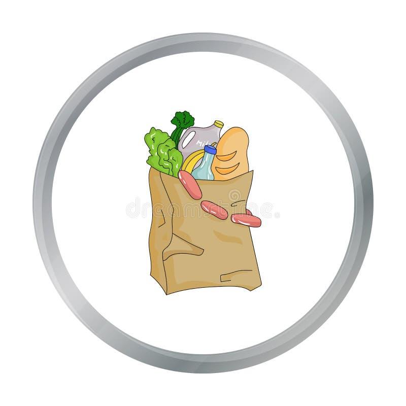 Le sac de papier a rempli d'icône de nourriture dans le style de bande dessinée d'isolement sur le fond blanc Vecteur d'actions d illustration stock