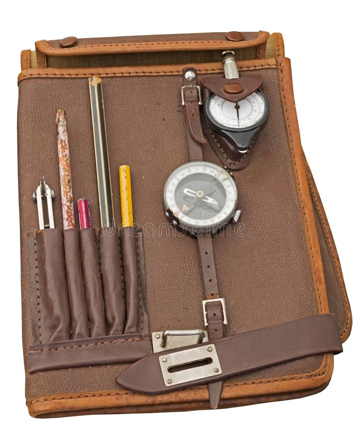 Le sac en cuir brun du commandant militaire pour des documents photographie stock libre de droits