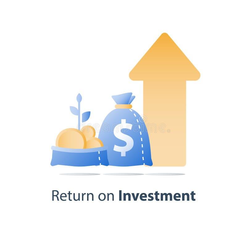 Le sac ouvert avec des pi?ces d'or et la tige d'usine, croissance rapide de finances, augmentation de revenu, gagnent plus d'arge illustration stock