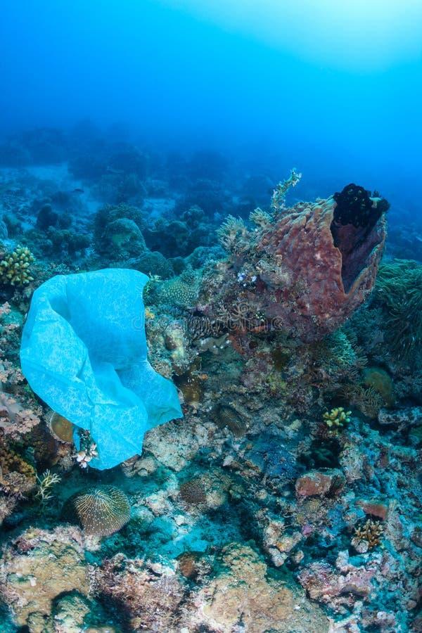 Le sachet en plastique pollue un récif coralien photographie stock