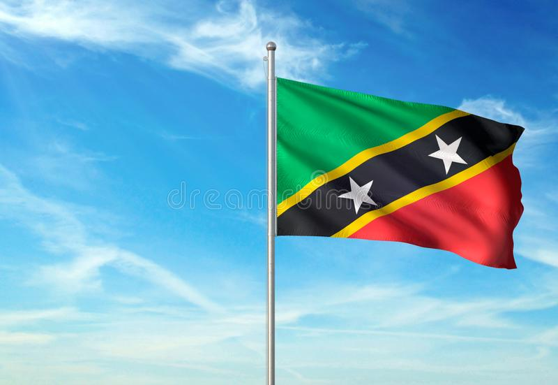 Le saint Kitts et Niévès marquent l'ondulation avec le ciel sur l'illustration 3d réaliste de fond illustration libre de droits