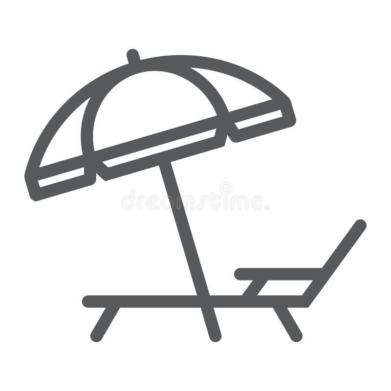 Le salon de parapluie et de soleil rayent l'icône, tourisme de voyage illustration libre de droits