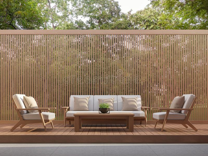 Le salon extérieur avec les lamelles en bois 3d rendent illustration libre de droits