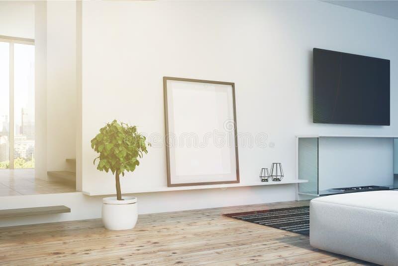 Le salon, la TV et l'affiche blancs, dégrossissent modifié la tonalité illustration stock