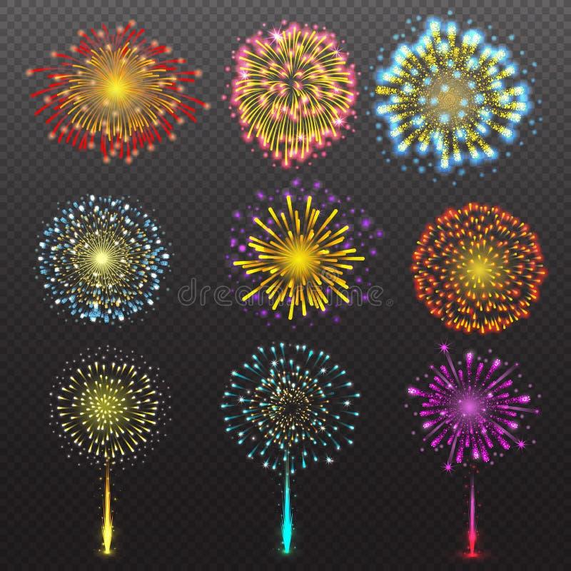 Le salut de fête réglé de feu d'artifice a éclaté sur l'illustration transparente de vecteur de fond illustration de vecteur