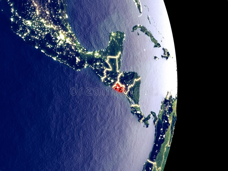 Le Salvador sur terre de nuit photo libre de droits