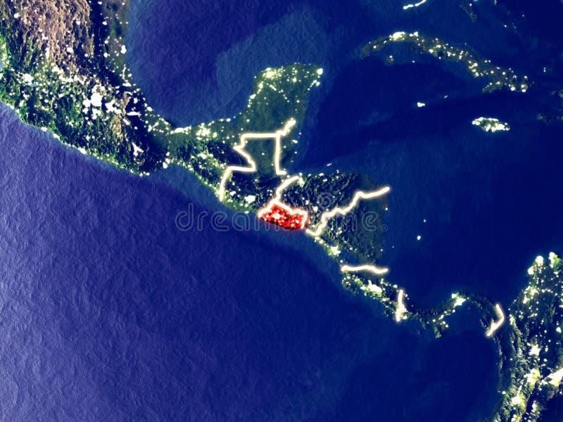 Le Salvador sur terre la nuit photos stock