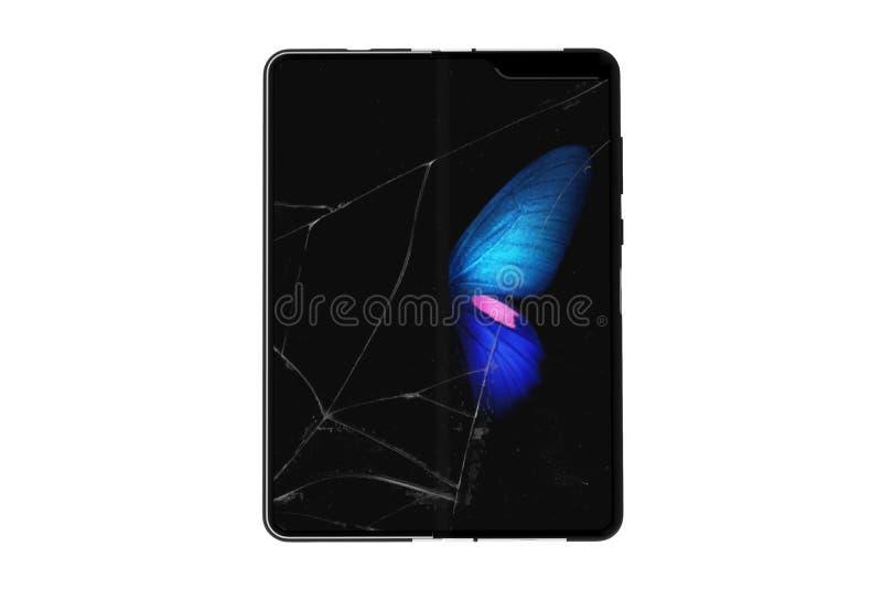 Le Samsung Galaxy plient cassé photo stock