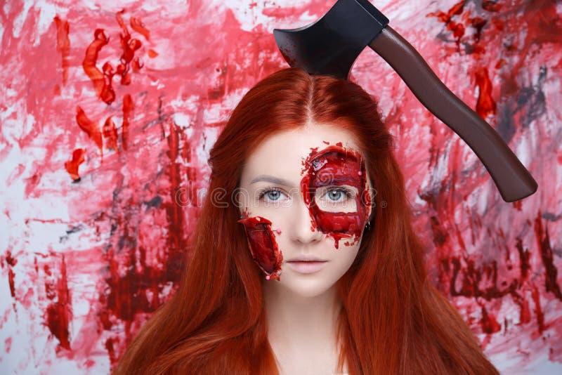 Le sang de femme composent photographie stock