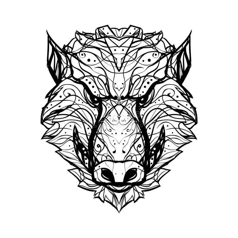 Le sanglier fâché et agressif/le logo noir et blanc vecteur d'aper- est illustration stock