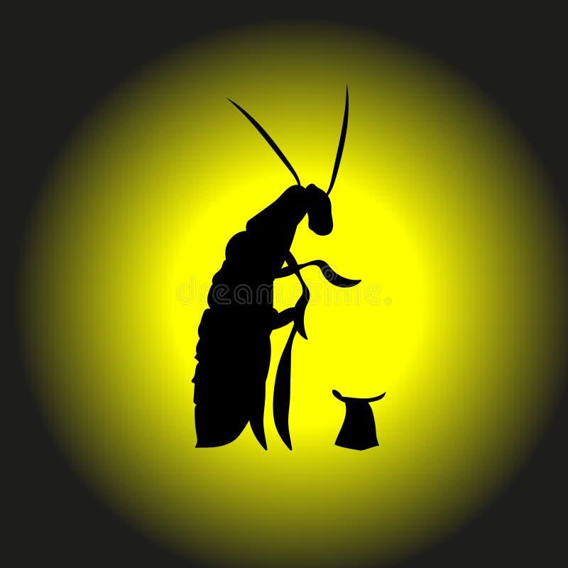 Le sans-abri, affamé, cancrelat de mendiant prie pour l'argent, illustration Cancrelat une découpe de scarabée Pour la lutte cont illustration stock