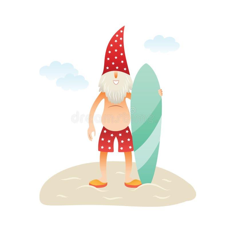 Le Santa Claus på stranden stock illustrationer
