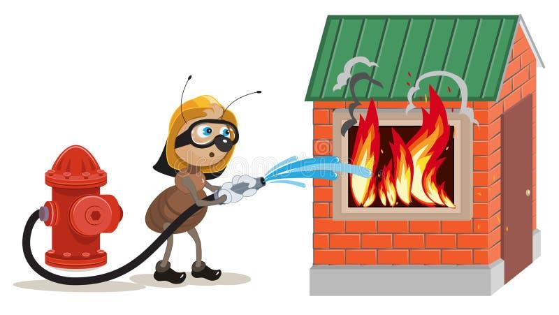 Le sapeur-pompier de fourmi s'éteint la maison illustration stock
