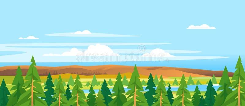 Le sapin complète Forest Landscape Background illustration libre de droits
