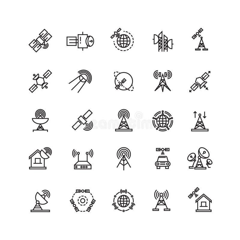 Le satellite et la communication d'orbite, ligne aérienne amincissent des icônes illustration libre de droits