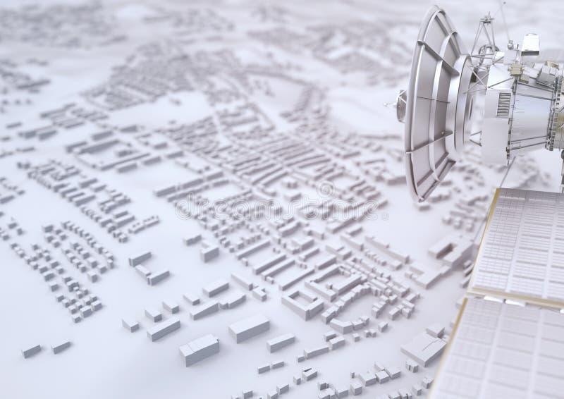 Le satellite surveille une ville - le rendu 3D illustration de vecteur