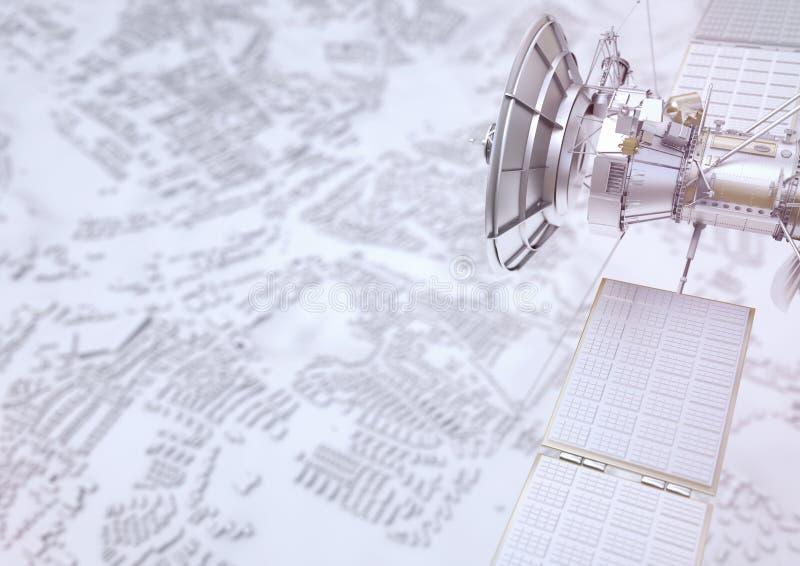 Le satellite surveille une ville - le rendu 3D illustration libre de droits