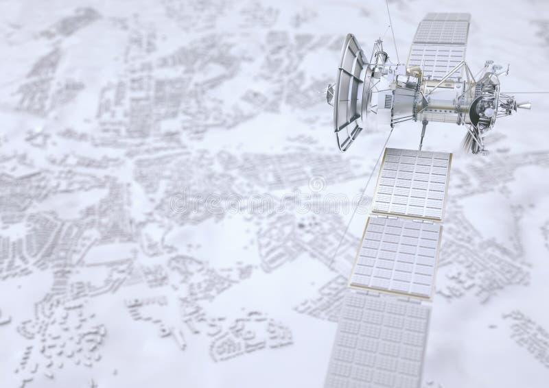 Le satellite surveille une ville - le rendu 3D illustration stock