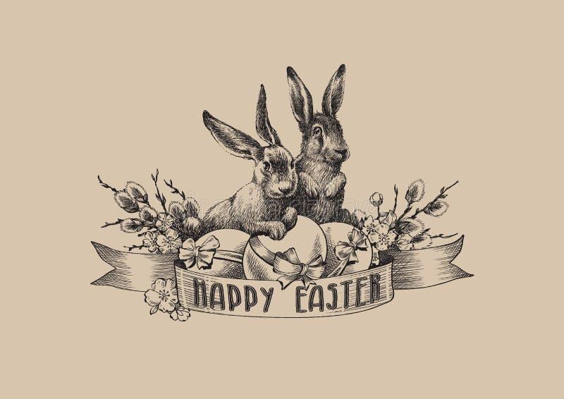 Le saule de lapins de Pâques de vintage eggs la composition en illustration illustration stock