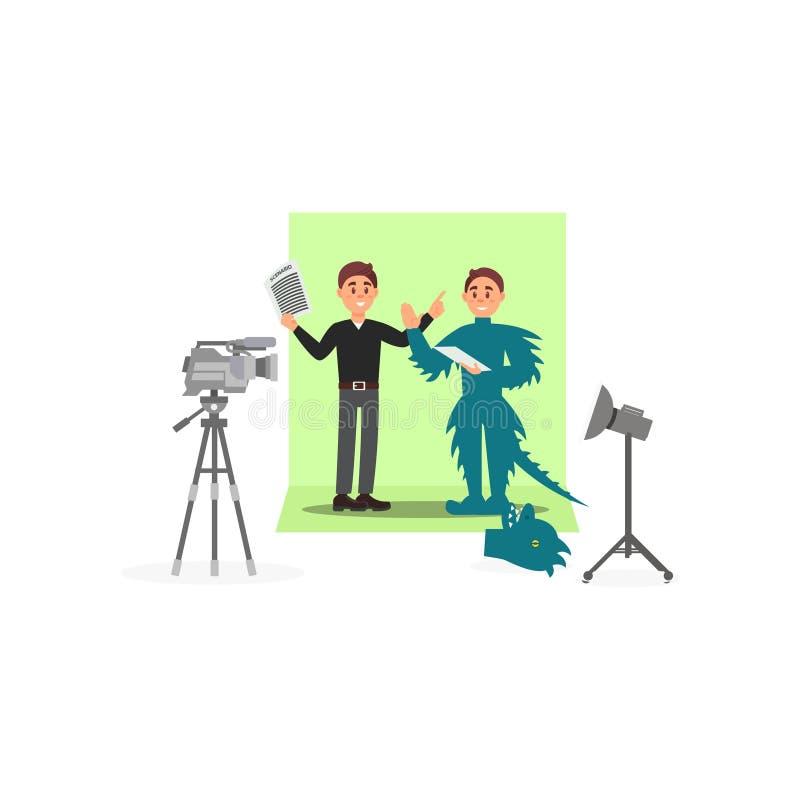 Le scénariste et l'acteur dans un dinosaure costument travailler au film, industrie du divertissement, film faisant le vecteur illustration de vecteur
