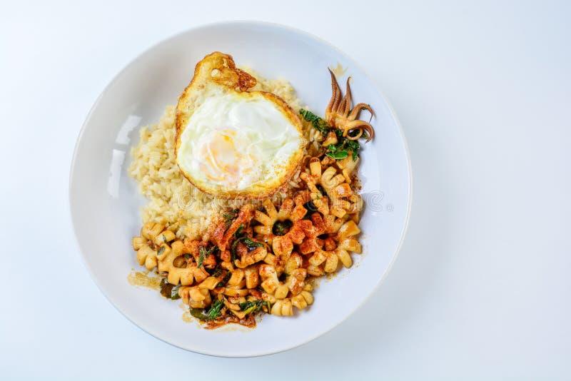 Le scalpore piccanti hanno fritto il calamaro con le foglie del basilico ed il peperoncino rosso, sul piatto uovo immagini stock