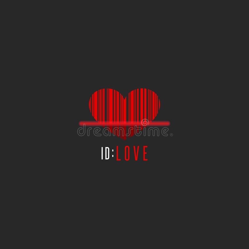 Le scanner rouge de code barres de forme de coeur, Valentine créatif est maquette de carte de voeux de jour, calibre romantique d illustration libre de droits