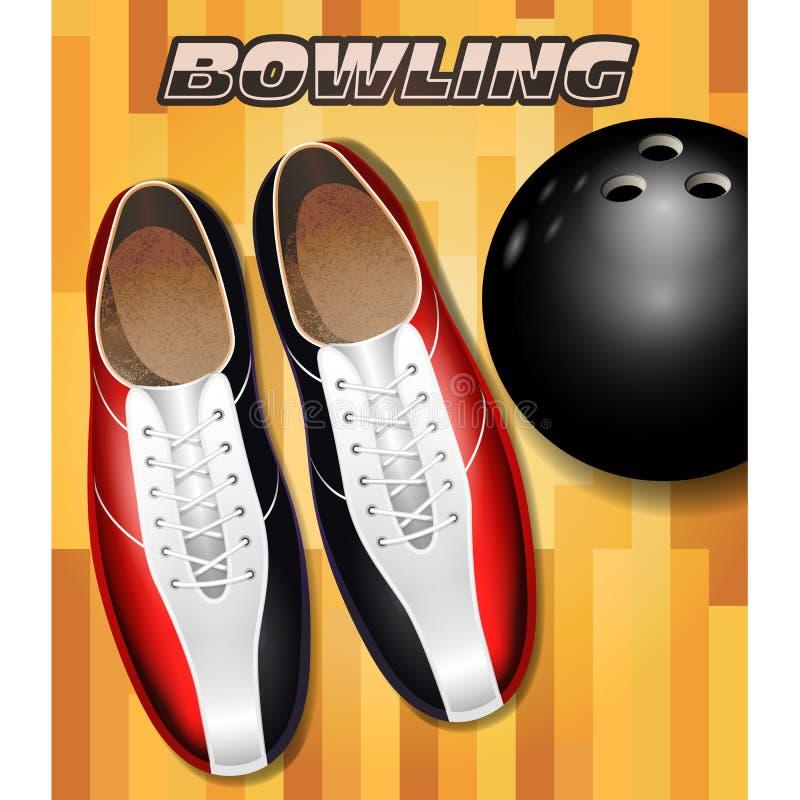 Le scarpe e la palla di bowling sul parquet della corte di bowling sorgono illustrazione vettoriale