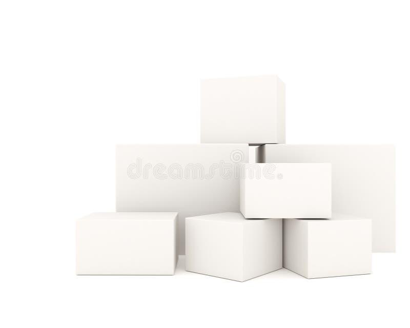 Le scatole bianche vuote hanno impilato la o royalty illustrazione gratis