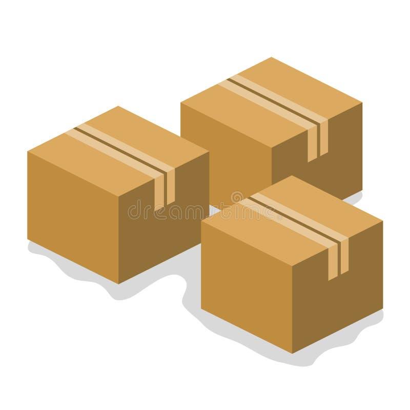 Le scatole di cartone hanno isolato l'illustrazione illustrazione vettoriale