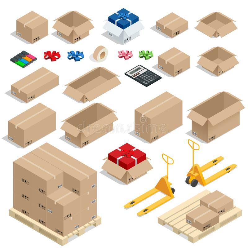 Le scatole di cartone, hanno messo aperto o chiuso, sigillato con il grande o piccolo formato del nastro Illustrazione piana di v illustrazione di stock