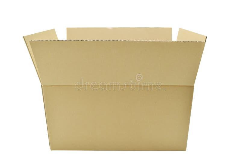 Le scatole di cartone stanno aprendo sul fondo bianco fotografia stock libera da diritti